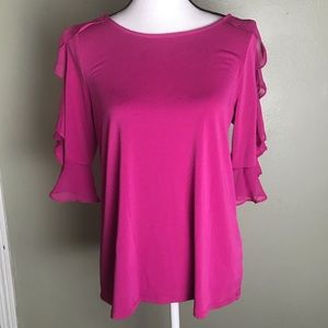 Worthington NWT Ruffle Pink Cold Shoulder Top M